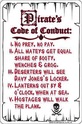 Pirate CODE OF CONDUCT No Prey No Pay sign for Pirates of the Caribbean fan