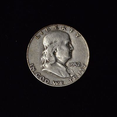 1952- 50C Franklin Silver Half Dollar Circulated 90% Us Type Coin