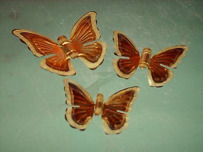 Set Of 3 Home Interiors Gold Metal Butterfly Wall Hanging Plaques