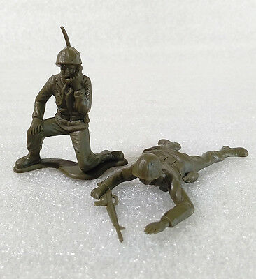 2 Vintage Rare Small ✱ AMERICAN SOLDIERS ✱ Plastic Figures Gulliver Brazil