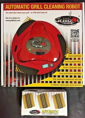 Grillbot Automatic Grill Cleaning Robot (Red) Includes 3 Extra Brushes NIB