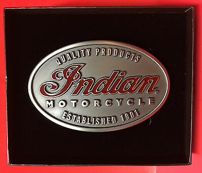 Indian Motorcycle Oval Emblem Belt Buckle Imc Script 1901 New In Gift Box!