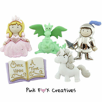Once Upon A Time Dress It Up Novelty Craft Buttons Fairytale Princess Knight New