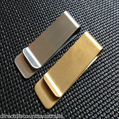 Stylish Stainless Steel Small Slim Silver or Gold Money Clip Card Holder $$ $