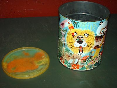 Metal Folgers Coffee Tin Container -Zoo Animal Print With Original Paper Insert
