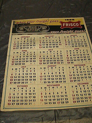 "1969 Frisco RR Advertising Calendar 26x20.5"", Cardstock Never Been Rolled Up"