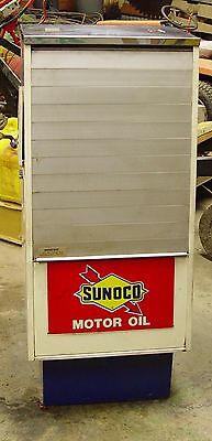 Sunoco SELOIL Oil Display Cabinet Antique Gas Service Station Advertising Sign r