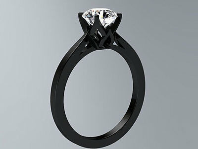Single 1Ct White Stone Studded Black Silver Plated Simple Ladies Engagement Ring