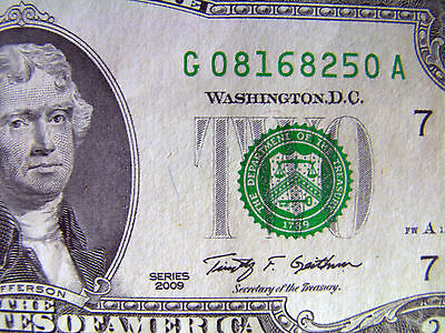 2009, $2 bill two dollar bank note Federal Reserve USA Series G uncirculated