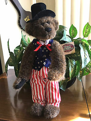 "15"" ABE Ganz Cottage Collectible Teddy Bear Signed Uncle Sam 4th of July CC1225"