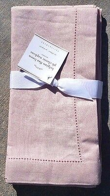 """Pottery Barn ~ Belgian Flax Linen Classic Hemstitch Napkins ~20"""" ~Color Is Blush"""