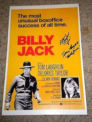 """""""BILLY JACK"""" TOM LAUGHLIN DELORES TAYLOR SIGNED 11x17 mini poster coa"""