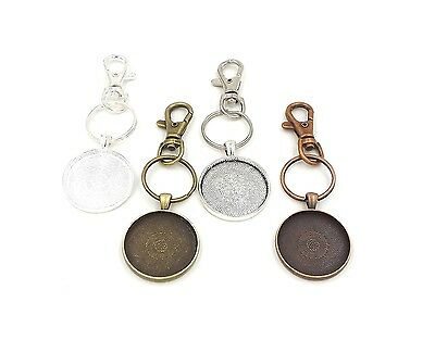 30mm circle pendant trays key chains in your choice of color