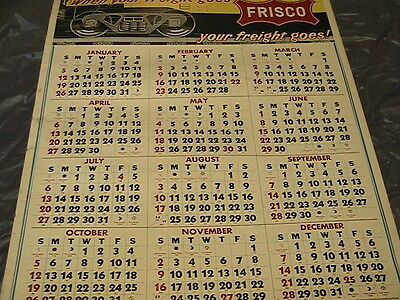 "1972 Frisco RR Advertising Calendar 26x20.5"", Cardstock Never Been Rolled Up"