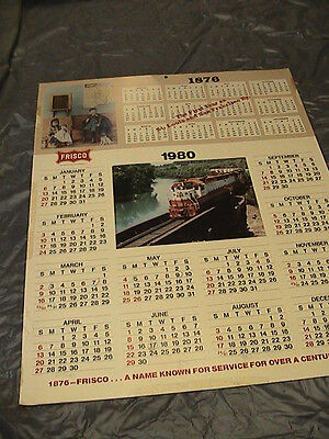 Rare 1980 Frisco RR Advertising Calendar 26x20.5, Cardstock Never Been Rolled Up