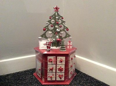 Hand painted Xmas tree wooden tower advent calendar Santa Xmas countdown 36cm