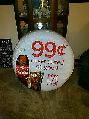 """Coca-Cola Hanging Inflatable Advertising Sign/Ball/Float Thick Vinyl 38"""" NOS."""