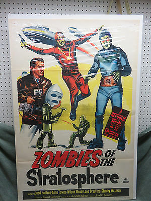 Vintage Zombies of the Strotsphere Movie Poster Serial Republic 1952- Amazing!