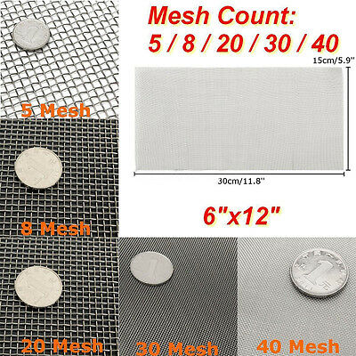 Stainless Steel Woven Cloth Screen Wire Filter Sheet 6x12'' 5/8/20/30/40 Mesh
