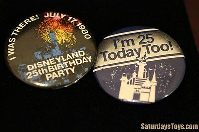 """1980 Disneyland 25th Anniversary 2.25"""" Pinback BUTTONS I Was There 25th Birthday"""
