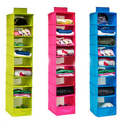 6/9 Shelves Hanging Closet Wardrobe Clothes Rack Storage Organizer Bag Blanket