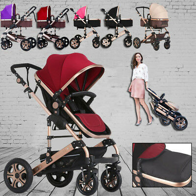 Baby Toddler Pram Stroller 3 in 1 Jogger Aluminium With Bassinet Pushchair 5 col