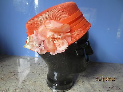 Vintage 60s orange woven summery hat with flowers ribbon