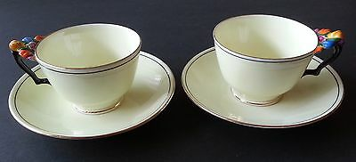 Crown Staffordshire Rare Raised Floral Handle Teacup & Saucer Pair - 1900's