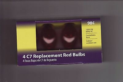 4 Pack  RED   C7   Replacement Bulbs Lights  for Wedding  Party  Christmas Patio