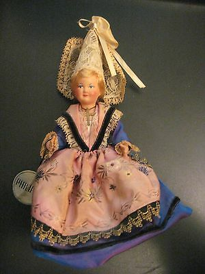 """Vintage 1950s French Doll By """"Phillipe"""" w/TAG Ornate Outfit w/Cross Great Shape"""