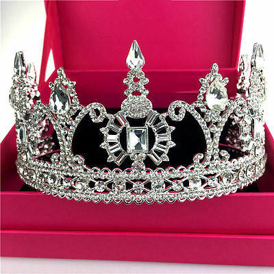 Vintage Wedding Bridal Crystal Silver Queen Crown Tiara Hair Accessories Jewelry