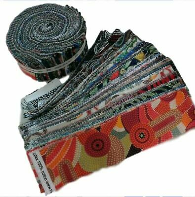 """Warrina 2.5/"""" Aboriginal Quilting//Patchwork Black Color Jelly Roll 20 Strips"""