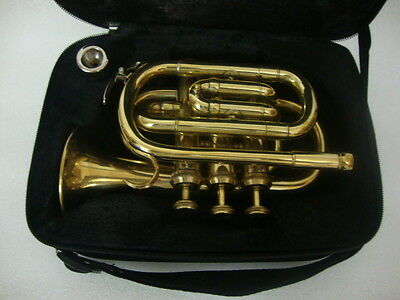 **GREAT SALE! NEW BRASS FINISH Bb POCKET TRUMPET+WITH FREE HARD CASE+MOUTHPIECE