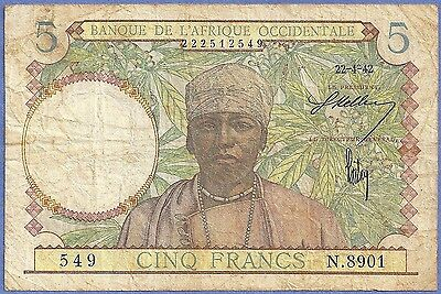 French West Africa 1942 5 Francs COFFEE, HAND LOOM P-25  549