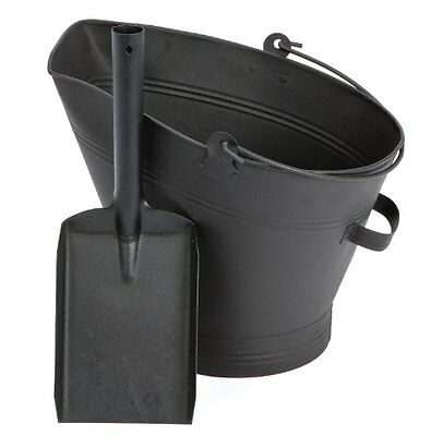 Black Waterloo Bucket and Shovel Set Coal Log Fire Ash Scuttle Hod Fireside