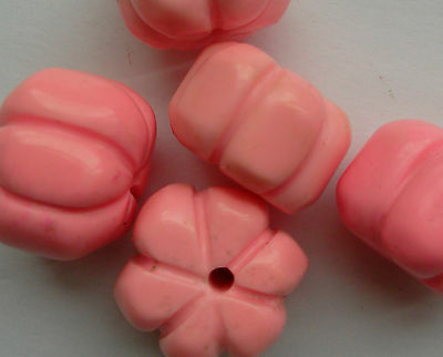 5 Carved Pumpkin Beads, Pink Turquoise Gemstone. For Jewellery Making