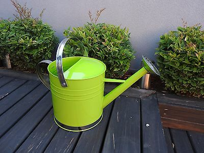 WATERING CAN Two Handles, Galvanised Metal, LIME GREEN 9L