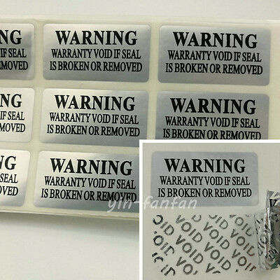 silver VOID Security Labels Removed Tamper Evident Warranty Sticker 100