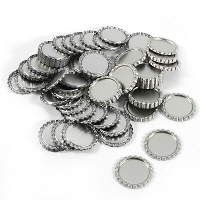 100Pcs Dia 2.54cm Flat Flattened Linerless Tinplate Bottle Caps No Liners Silver