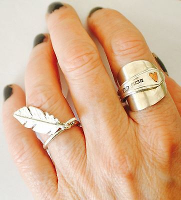 Sterling Silver Dangle Fiddler Feather Ring Hand Made Unique London Boho Chic