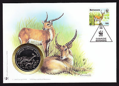 Botswana World Wide Fund Nature Red Lechwe cover with coin medal Numisbrief WWF