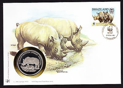 Swaziland World Wide Fund Nature Rhino cover with coin / medal Numisbrief WWF