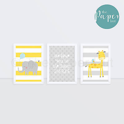 "Unisex Nursery Art Print Yellow & Grey  5""x7"" Three Pack 