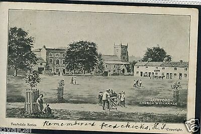 GAINFORD CHURCH AND VICARAGE.  Co  DURHAM. OLD POSTCARD.
