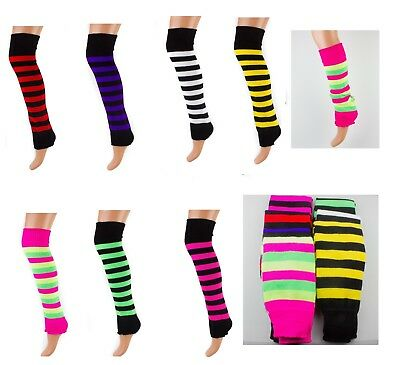 High Quality Soft Long Striped Leg Warmers Ankle Warmers Legwarmer Made in UK