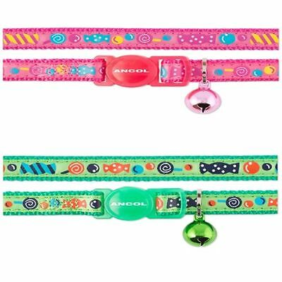 ANCOL SWEETIES CUTE CAT COLLAR with or without ENGRAVED ID TAG PINK OR GREEN