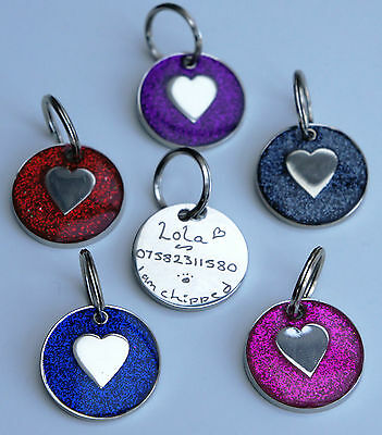 Dog Tag Hand Engraved Glitter & Heart Tags Choice Of Colour Same Day Dispatch