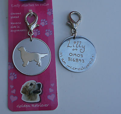 Golden Retriever Id Tag -  Pet Dog Tag Hand Or Machine Engraved Free