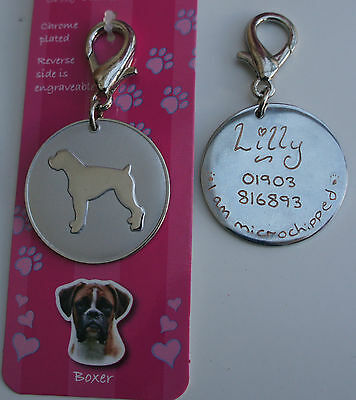 Boxer Dog Id Tag -  Boxer Pet Dog Tag Hand Engraved Free