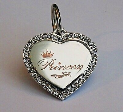 Luxury Hand Engraved Diamante Pet Tags With Split Rings